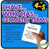 I Have, Who Has Game with Geometry Terms
