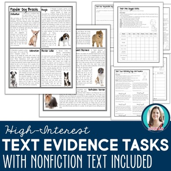 Text Evidence Tasks: Nonfiction Articles for Finding & Using Text Evidence