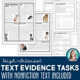 Text Evidence Tasks: Nonfiction Articles for Finding & Usi