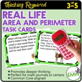 Area and Perimeter Task Cards Deep Thinking Real Life