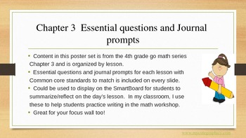 Gr 4 Go Math! Ch. 3 Essential Questions and Journal Prompts