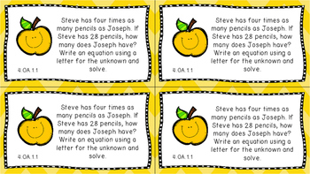 Gr 4 Math Journal Prompt/Topic Florida Standard COLOR OA Algebraic Thinking MAFS
