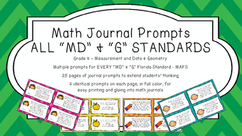 Gr 4 Math Journal Prompt/Topic Florida Standard Color Measurement Data Geometry