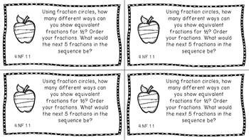 Gr 4 Math Journal Prompt/Topic Florida Standards MAFS B&W NF Number Fraction