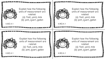 Gr 4 Math Journal Prompts/Topic Common Core B&W MD & G Measurement Data Geometry