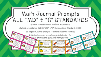 Gr 4 Math Journal Prompts/Topic Common Core COLOR MD G Mea