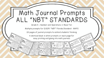 Gr 4 Math Journal Prompts/Topic Florida Standards B&W NBT Number Base Ten MAFS