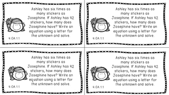 Gr 4 Math Journal Prompts/Topic Florida Standards B&W OA Algebraic Thinking MAFS