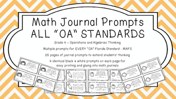 Gr 4 Math Journal Prompts/Topic Florida Standards B&W OA A