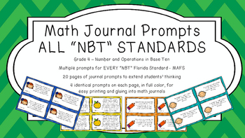 Gr 4 Math Journal Prompts/Topic Florida Standards COLOR NBT Number Base Ten MAFS