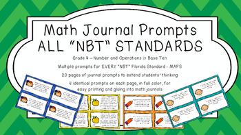 Gr 4 Math Journal Prompts/Topic Florida Standards COLOR NB