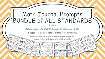Gr 4 Math Journal Prompts/Topics Common Core B&W EVERY STA