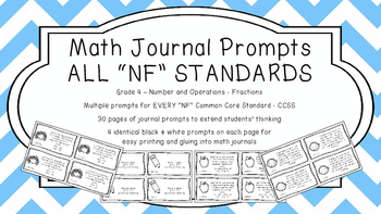 Gr 4 Math Journal Prompts/Topics Common Core B&W NF Number Operations Fractions