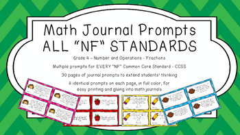 Gr 4 Math Journal Prompts/Topics Common Core Color NF Number Operation Fractions