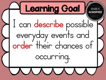 Gr 4 Maths Statistics & Probability Learning Goals & success criteria posters