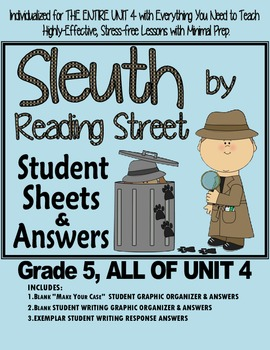 Gr. 5. Reading Street, Sleuth Lesson Plans & Student Sheets for all of Unit 4