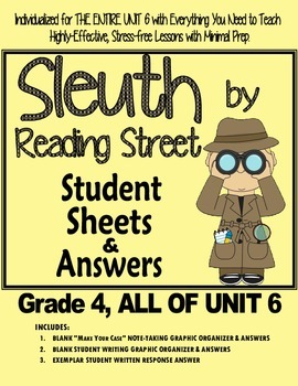 Gr. 4, Reading Street, Sleuth Lesson Plans & Student Sheets for all of Unit 6