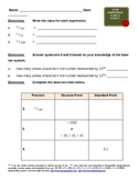 Gr. 5 Common Core Math Homework Base 10 Decimals/ Powers of  10 & Expanded Form