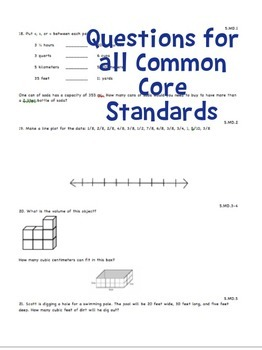 End of Year Math Snapshot – Gr 5 All Core Standards Quick Assessment - Editable