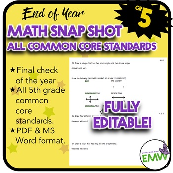 End of Year Math Snapshot – Gr 5 All Core Standards Quick