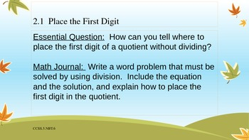 Gr 5 Go Math! Ch. 2 Essential Questions and Journal Prompts