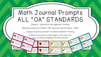 Gr 5 Math Journal Prompt/Topic Common Core COLOR OA Operation Algebraic Thinking