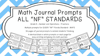 Gr 5 Math Journal Prompt/Topic Florida Standard B&W NF Number Op. Fractions MAFS