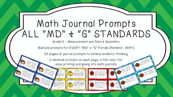 Gr 5 Math Journal Prompt/Topic Florida Standard COLOR Measurement Data Geometry