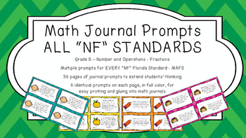 Gr 5 Math Journal Prompt/Topic Florida Standard COLOR NF Number Op. Fractions FS