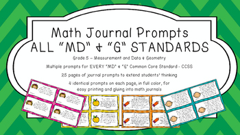 Gr 5 Math Journal Prompts/Topic Common Core COLOR MD G Measurement Data Geometry