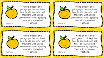 Gr 5 Math Journal Prompts/Topic Common Core COLOR NF Number Operations Fractions