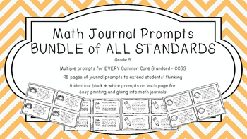 Gr 5 Math Journal Prompts/Topics Common Core B&W EVERY STA