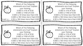 Gr 5 Math Journal Prompts/Topics Common Core B&W NBT Number Base Ten CCSS CC