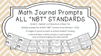 Gr 5 Math Journal Prompts/Topics Common Core B&W NBT Numbe