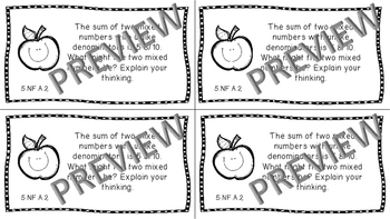 Gr 5 Math Journal Prompts/Topics Common Core B&W NF Number Operations Fractions