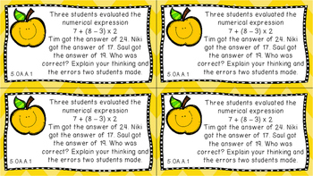 Gr 5 Math Journal Prompts/Topics Common Core COLOR EVERY STANDARD CCSS