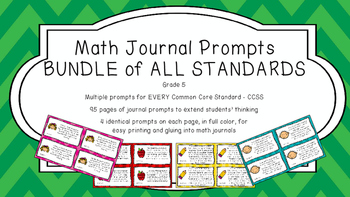 Gr 5 Math Journal Prompts/Topics Common Core COLOR EVERY S