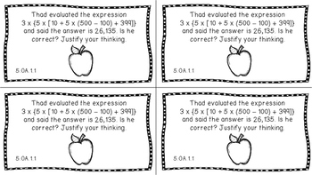 Gr 5 Math Journal Prompts/Topics Florida Standard B&W OA Op. Algebraic Thinking