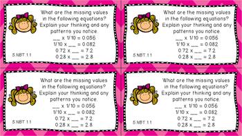 Gr 5 Math Journal Prompts/Topics Florida Standard COLOR NBT Number Base Ten MAFS