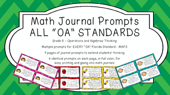 Gr 5 Math Journal Prompts/Topics Florida Standard COLOR OA Op Algebraic Thinking