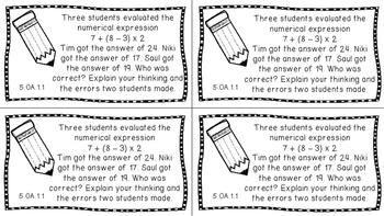 Gr 5 Math Journal Prompts/Topics Florida Standards MAFS B&W EVERY STANDARD FS