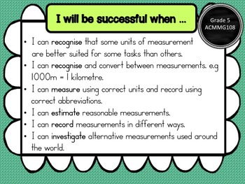 Gr 5 Maths – Measurement & Geometry, Learning Goals & Success Criteria Posters