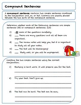 Gr. 5 Sentence Structure, Conjunction and Compound Sentences