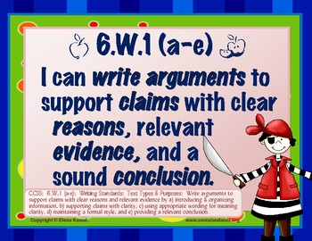 """Gr 6 Common Core Writing Standards """"I Can"""" Posters"""