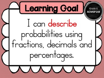 Gr 6 Maths Statistics & Probability Learning Goals & success criteria posters