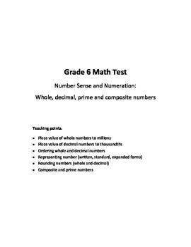 Gr 6 Number Sense & Numeration: Whole, Decimal, Composite