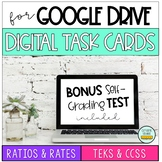 Ratio & Rate Digital Task Cards for Google Drive with Self Grading Test