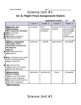 Gr.6 Science Assignment (Designing & Testing a Paper Plane) -- Rubric Included