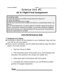 Gr.6 Science Assignment (Designing & Testing a Paper Plane