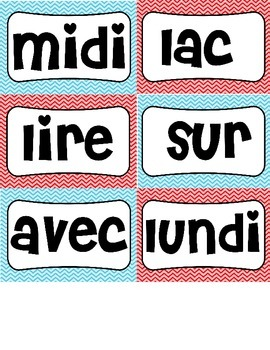 Gr.1 French Word Wall Words